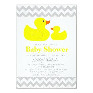 Rubber Ducky Baby Shower Invitations Chevron