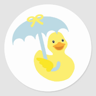 Rubber Ducky baby shower sticker & blue umbrella