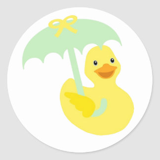 Rubber Ducky baby shower sticker & green umbrella