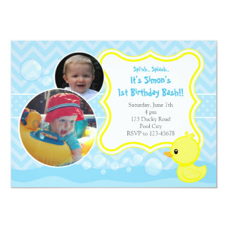 Rubber Ducky Birthday Invitation with Two Photos