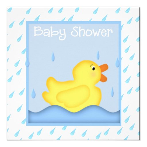 Rubber Ducky Blue Baby Shower Invitation