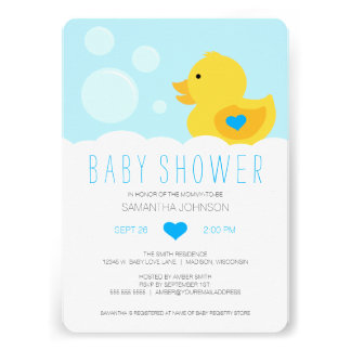 Rubber Ducky Blue Boy Baby Shower Cards