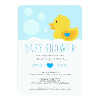 "Rubber Ducky Bubble Bath Boy Baby Shower 5"" X 7"" Invitation Card"