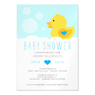 Rubber Ducky Bubble Bath Boy Baby Shower Magnetic Invitations