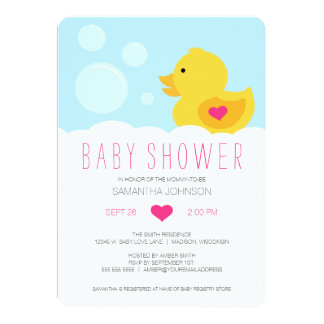 "Rubber Ducky Bubble Bath Girl Baby Shower 5"" X 7"" Invitation Card"