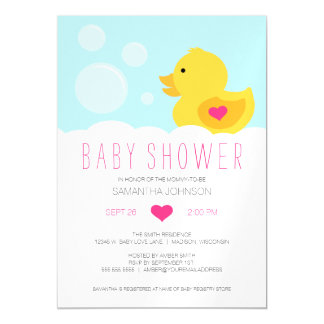 Rubber Ducky Bubble Bath Girl Baby Shower Magnetic Invitations