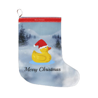 Rubber Ducky Christmas Greetings Large Christmas Stocking