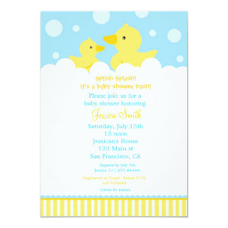 """Rubber Ducky Duck Baby Shower Invitation for girl 5"""" X 7"""" Invitation Card"""