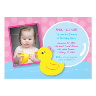 Rubber Ducky Duck Girl Photo Birthday Invitations