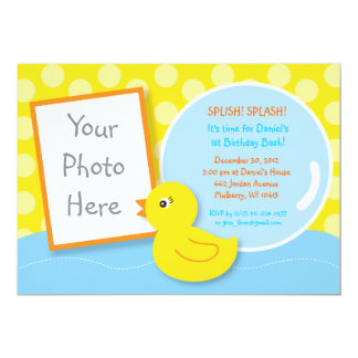 Rubber Ducky Duck Photo Birthday Invitations