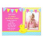 "Rubber Ducky Duck Photo Birthday Party Invitations 5"" X 7"" Invitation Card"