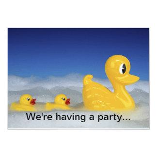 """Rubber Ducky Family In Bath Bubbles 5"""" X 7"""" Invitation Card"""