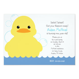 """rubber ducky first BIRTHDAY PARTY invitation 5"""" X 7"""" Invitation Card"""