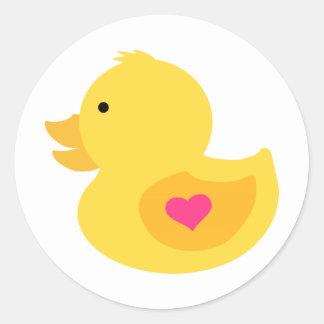Rubber Ducky Girl Baby Shower Classic Round Sticker