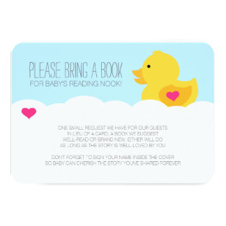 """Rubber Ducky Girl Baby Shower Enclosure 3.5"""" X 5"""" Invitation Card"""