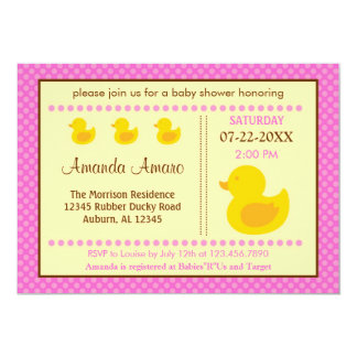 "Rubber Ducky Girl Baby Shower Invitation 5"" X 7"" Invitation Card"