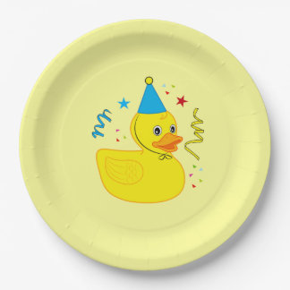 Rubber Ducky in Birthday Hat Paper Plate
