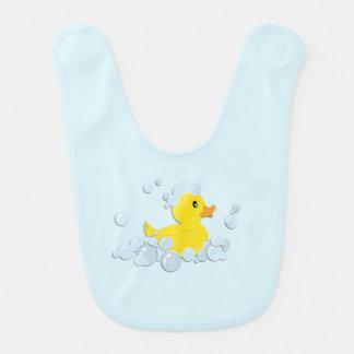 Rubber Ducky in Bubbles Blue Boys Baby Bibs