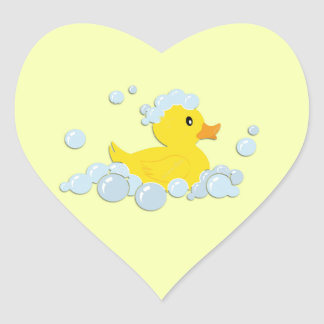 Rubber Ducky in Bubbles Heart Sticker
