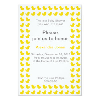Rubber Ducky invitation for Baby Shower yellow