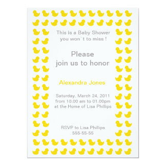 """Rubber Ducky invitation for Baby Shower yellow 6.5"""" X 8.75"""" Invitation Card"""