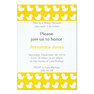 """Rubber Ducky invitation for Baby Shower yellow 3.5"""" X 5"""" Invitation Card"""
