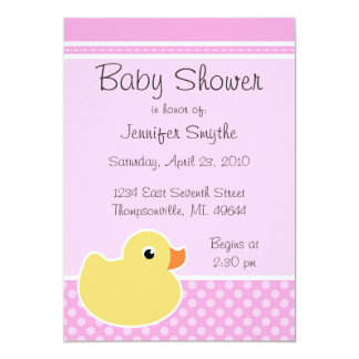 Rubber Ducky Pink Baby Shower Invitations