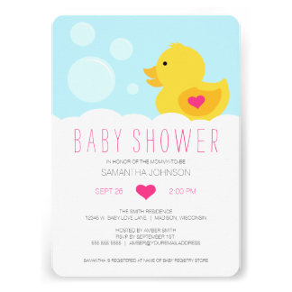 Rubber Ducky Pink Girl Baby Shower Card