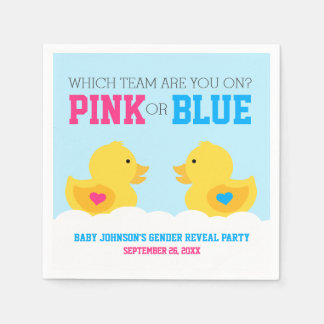 Rubber Ducky Pink or Blue Gender Reveal Party Disposable Napkins