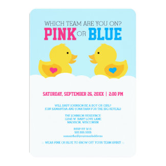 """Rubber Ducky Pink or Blue Gender Reveal Party 5"""" X 7"""" Invitation Card"""