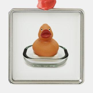 Rubber Ducky Silver-Colored Square Ornament
