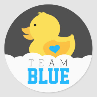 Rubber Ducky Team Blue Gender Reveal Party Round Sticker