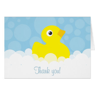 Rubber Ducky Thank You Note - Blue Card