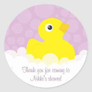 Rubber Ducky Thank You Stickers - Lilac