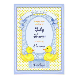 Rubber Ducky Twin Boys Shower Invitation Custom Announcements