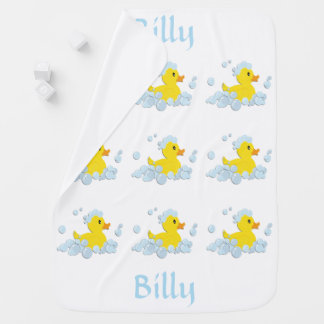 Rubber Ducky with Name Baby Blanket