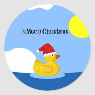 Rubber Ducky's Christmas Swim Classic Round Sticker