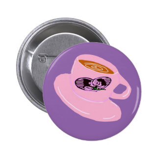 Rubber Stamp Coffee Cup 2 Inch Round Button