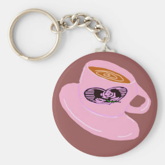 Rubber Stamp Coffee Cup Basic Round Button Keychain