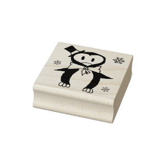 Rubber stamp - Penguin with tophat
