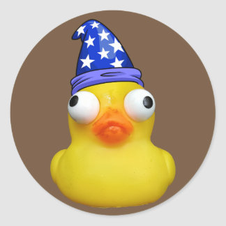 rubbery ducky magnet classic round sticker