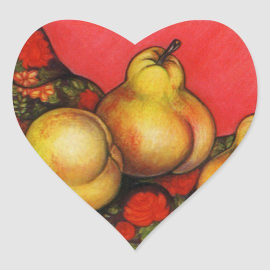 Rubenesque Pears Heart Sticker