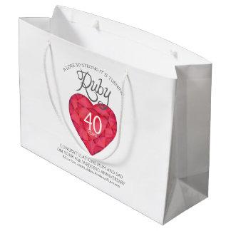 Ruby 40th anniversary custom parents gift bag