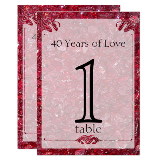 Ruby 40th Anniversary Table Number Card