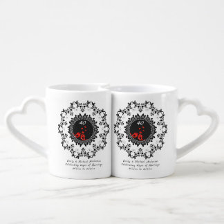 RUBY 40th Wedding Anniversary COUPLE Mugs PHOTO