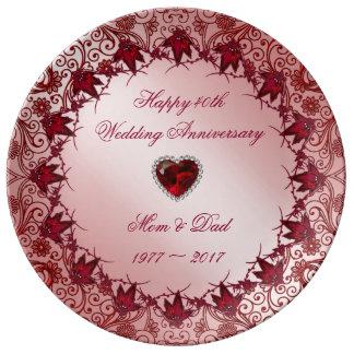 Ruby 40th Wedding Anniversary Porcelain Plate
