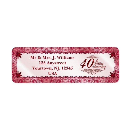 Ruby 40th Wedding Anniversary Return Address Label