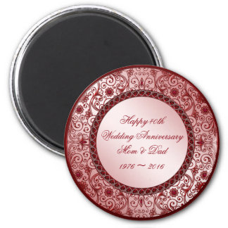 Ruby 40th Wedding Anniversary Round Magnet