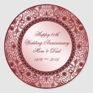 Ruby 40th Wedding Anniversary Round Sticker