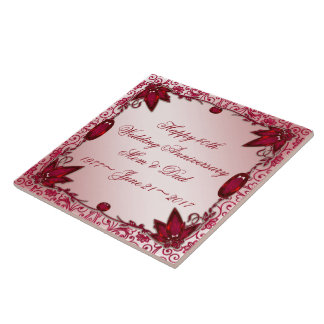 Ruby 40th Wedding Anniversary Tile